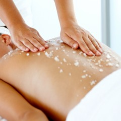 Female getting salt treatment at the spa