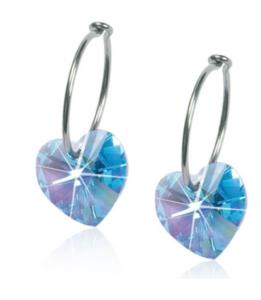 Medical Titanium Sleepers Heart Aquamarine Crystal Earrings