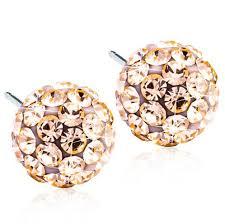 Medical Titanium Crystal Ball Golden Rose 6mm