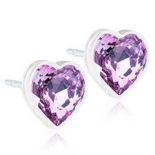Medical Plastic Heart Amethyst Crystal Earrings