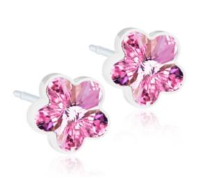Medical Plastic Flower Light Rose Earrings