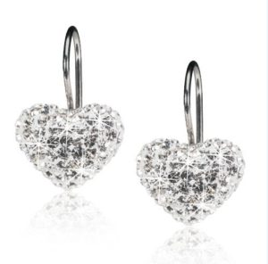 Medical Titanium Dangling Crystal Heart White 12mm